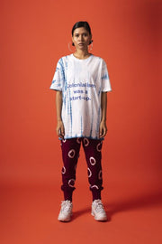 Front full length view of unisex colonisation was a start-up tee in 100% cotton