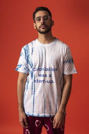 Front view of unisex colonisation was a start-up tee in 100% cotton (male model)