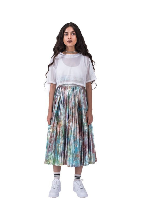 Front of women's shimmy shimma midi skirt in lurex