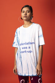 Front view of unisex colonisation was a start-up tee in 100% cotton