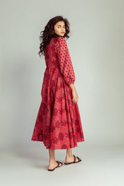 Chilli Red Midi Dress Back Omi Na-Na