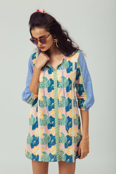 Hand-printed summer shift dress in 100% cotton