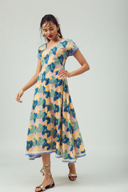 Front of maxi hand-printed summer day dress in 100% cotton