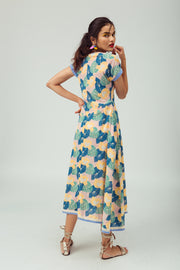 Back of maxi hand-printed summer day dress in 100% cotton