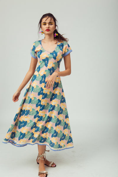 Maxi hand-printed summer day dress in 100% cotton