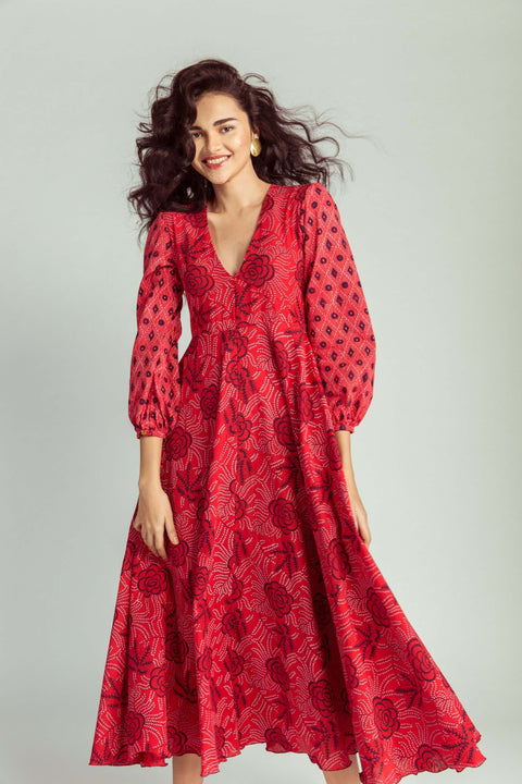 Chilli Red Midi Dress Full Length 2 Omi Na-Na