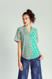 Front of floral handwoven cotton shirt