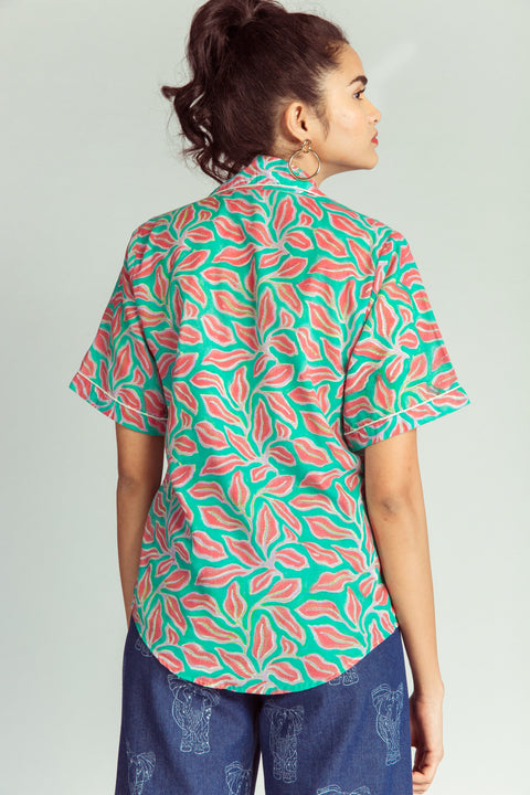Back of floral cotton shirt