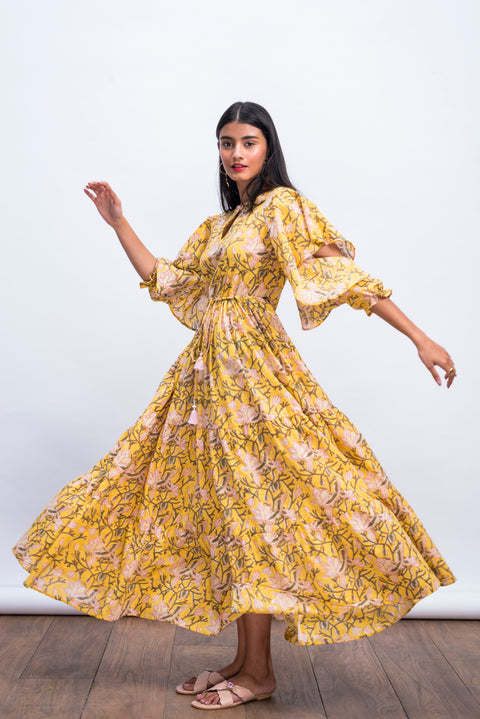 Front view of yellow swan peasant dress in 100% cotton