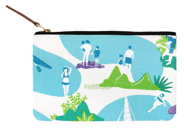 Hand screen printed Resort Life Clutch Pouch / travel pouch /make up bag in 100% cotton