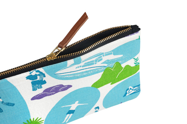 Side of hand screen printed Resort Life Clutch Pouch / travel pouch / make up bag in 100% cotton