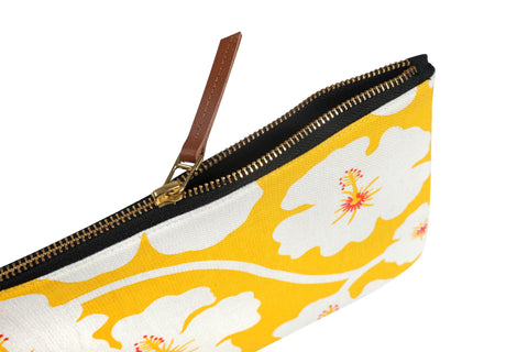 Side of hand screen printed Yellow Weaver Clutch Pouch / make up bag / travel pouch in 100% cotton