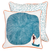 Front and back of hand screen printed Blue Catch Of The Day Cushion Cover made of cotton linen