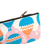 Side of Balloons at Dawn Clutch Pouch / Make up bag / Travel Pouch made from cotton
