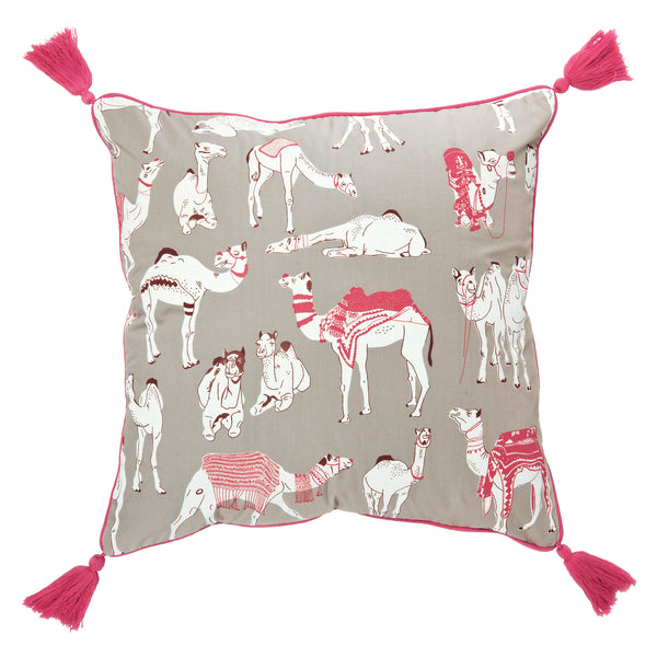 Hand screen printed Different Camels Cushion Cover made of 100% cotton poplin with tassels