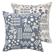 Front and back of Blue Festival Woven Cushion Cover made from 100% cotton