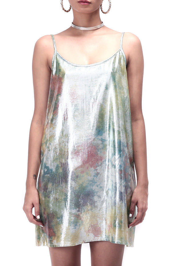 Front of women's shimmy shimma slip dress in lurex