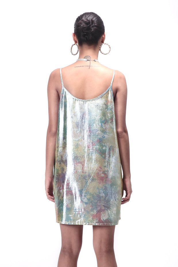 Back of women's shimmy shimma slip dress in lurex