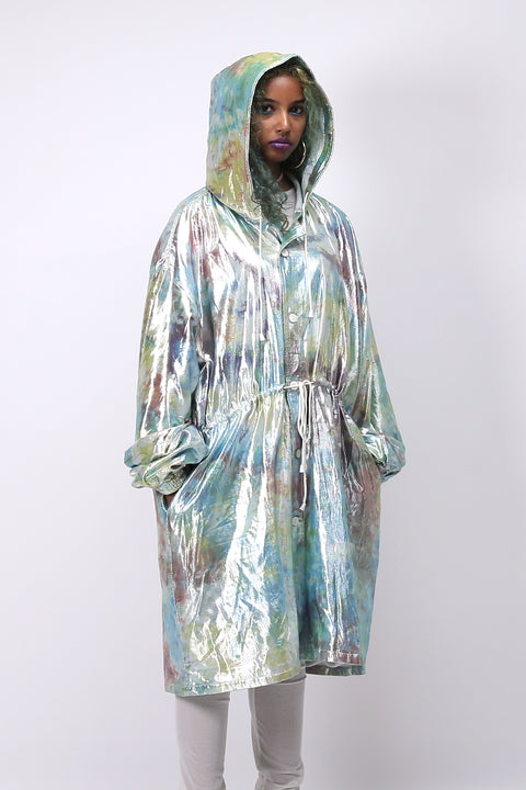 Close up of unisex shimmy shimma trench in lurex (hood up)
