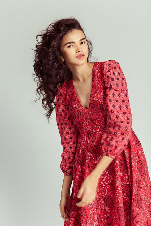 Chilli Red Midi Dress Front Omi Na-Na