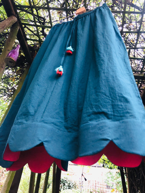 Teal Scallop Skirt