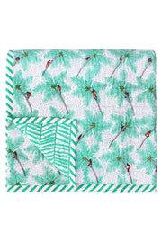 Hand screen and hand quilted printed Mint Coconut Palm Pickers Double Quilt in cotton