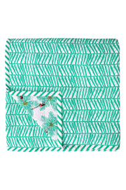 Back of hand screen and hand quilted printed Mint Coconut Palm Pickers Double Quilt in cotton