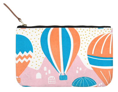 Balloons at Dawn Clutch Pouch / Make up bag / Travel Pouch made from cotton