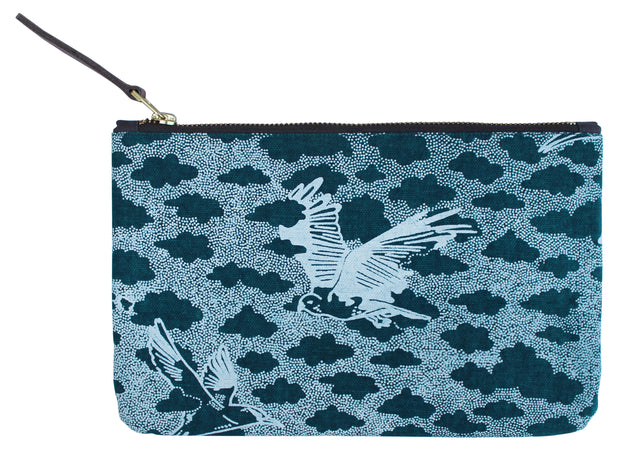 Blue Birds Clutch Pouch / make up bag / travel pouch made of cotton