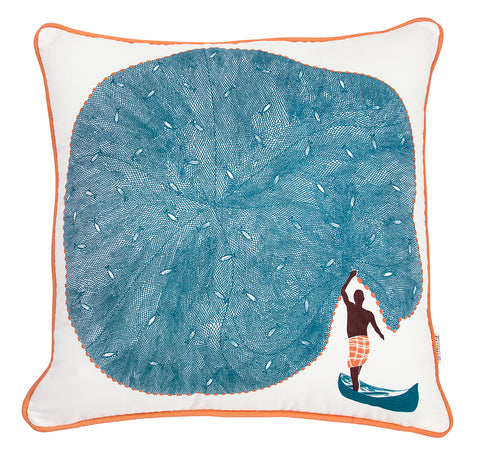 Hand screen printed Blue Catch Of The Day Cushion Cover made of cotton linen