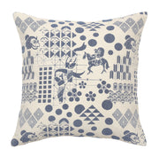 Back of Front of Blue Festival Woven Cushion Cover made from 100% cotton