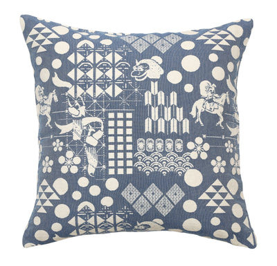 Front of Blue Festival Woven Cushion Cover made from 100% cotton