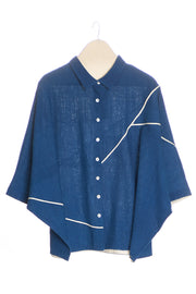 Front of women's khadi shirt in indigo with white piping