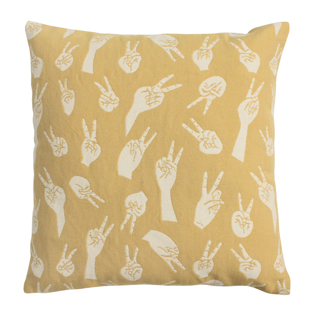 Front of Pale Gold Woven Peace Hands Cushion Cover in 100% cotton