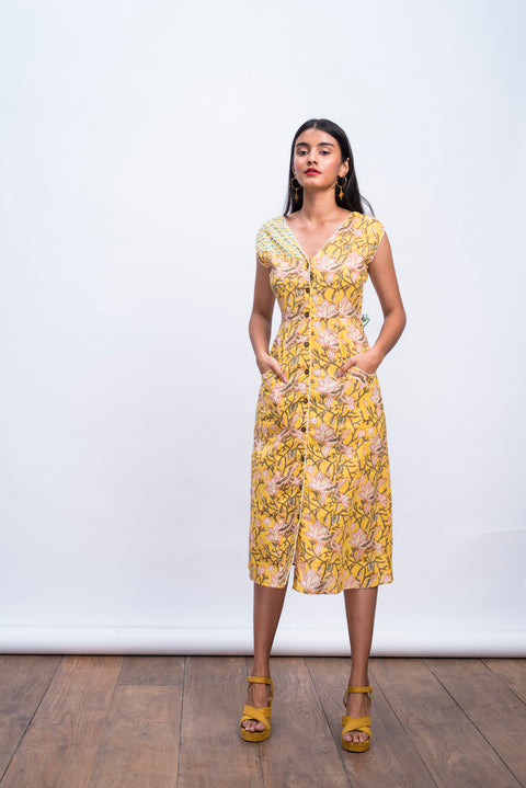 Front view of yellow swan day dress in handwoven 100% cotton