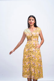 Front model view of yellow swan day dress in handwoven 100% cotton