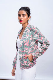 Side of womens muted octopus bomber jacket in 100% cotton