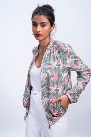 Front of womens muted octopus bomber jacket in 100% cotton