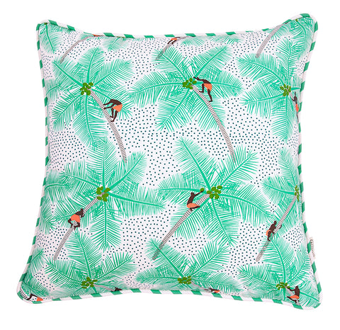 Front of Mint Coconut Palm Pickers Cushion Cover in cotton linen
