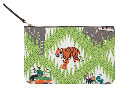 Hand screen printed Tiger Safari Clutch Pouch / make up bag / travel pouch in 100% cotton