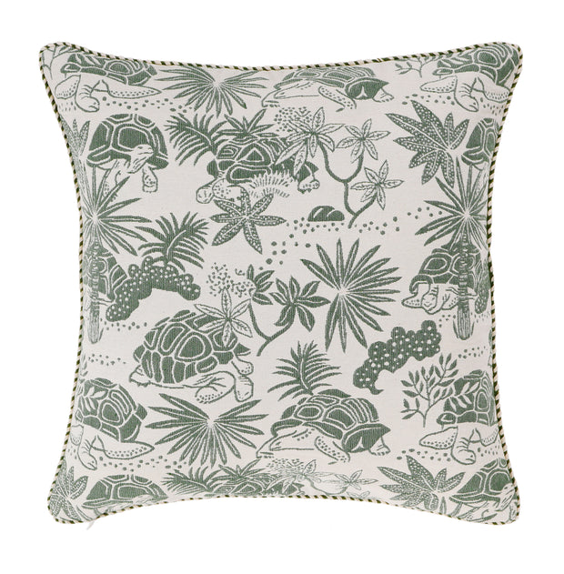 Back of Green Tortoise Woven Cushion Cover in 100% cotton