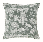 Front of Green Tortoise Woven Cushion Cover in 100% cotton