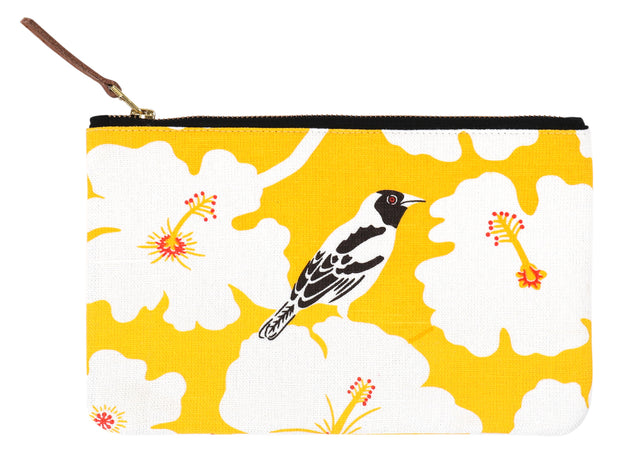 Hand screen printed Yellow Weaver Clutch Pouch / make up bag / travel pouch in 100% cotton