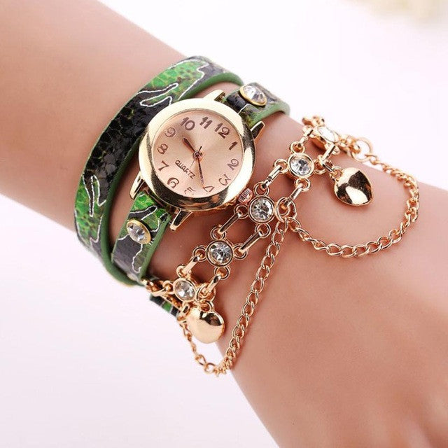 Leather Strap with Bracelet Wrist Watch