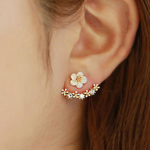 Flower Crystal Ear Stud Earrings