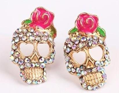Pink Rose Rhinestone Skeleton Skull Earring