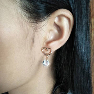 Heart Clear Crystal Earrings