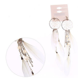 Long Drop Feather Tassel Earrings