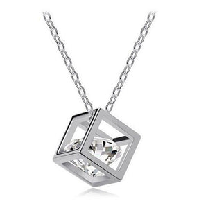 Crystal Rhinestone Square Pendant Necklace