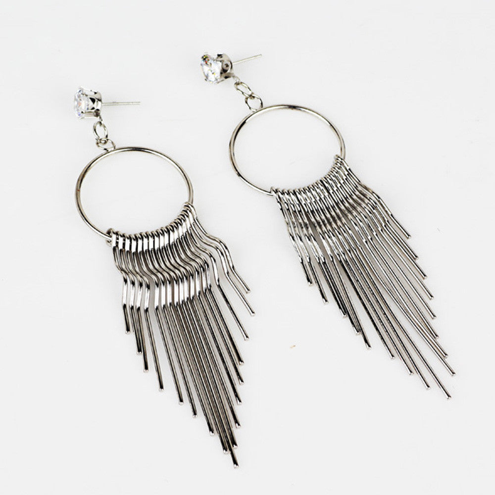 Crystal Dangle Tassel Earrings